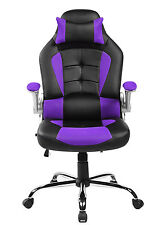 Elegant Merax High Back PU Leather Executive Office Racing Gaming Chair Computer  Desk Purple