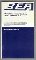 BEA BRITISH EUROPEAN AIRWAYS INTERNATIONAL ADVANCE AIRLINE TIMETABLE SUMMER 1970