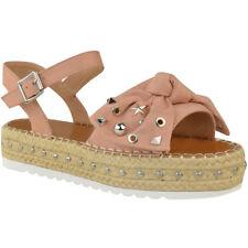 Womens Ladies Flatforms Espadrilles Summer Sandals Strappy Embellished Shoe Size