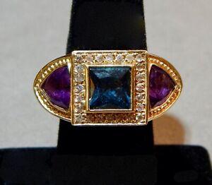 Dallas Prince DP 925 Sterling Silver Blue Topaz/Amethyst Ring (size 8.25) w/nr!
