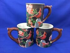 Susan Bourdet WILD WINGS Garden Gateway Cardinal COFFEE MUGS Set of 3