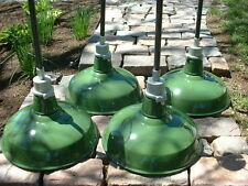 "(1) Appleton 16"" Porcelain Pendant Industrial Green Enamel Barn Lamp Light vtg"