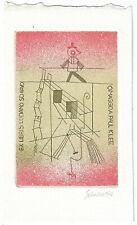 """LUCIANO SCHIAVO: Eigen-Exlibris, """"Omaggio a Paul Klee"""",  Seiltänzer"""