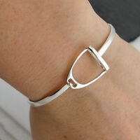 Stirrup Bangle Bracelet - 925 Sterling Silver - Horses Saddle Equestrian Rodeo