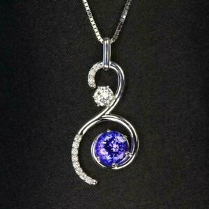 2Ct Round Cut Blue Tanzanite & Diamond Classy Pendant In 14K White Gold Finish