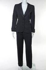 Giorgio Armani Blue White Striped Wool Blazer Pants Suit Size IT 44