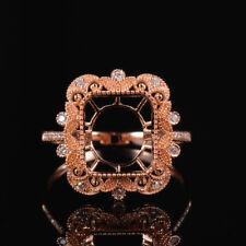 Natural Diamond Semi Mount Ring Settings Emerald Cut 8×10mm Solid 14K Rose Gold