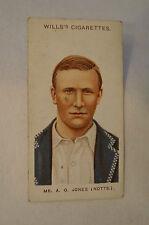 1908 Vintage Wills Cricket Card - A.O. Jones - Notts.