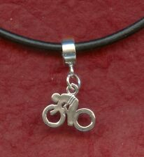 Bike Necklace Leather 22inch Solid Sterling silver Charm Pendant 925
