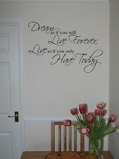 Dreams & Live Forever Large Wall Quote Vinyl Lettering Art Sticker Decal