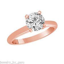 0.50 CARAT NATURAL DIAMOND SOLITAIRE ENGAGEMENT RING 14K ROSE GOLD HANDMADE