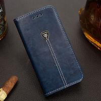 For iPhone 5 6 7 Plus Samsung Galaxy De lujo Funda Libro Tarjetero Soporte Cuero