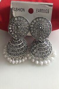 New Jhumka Jhumki Earrings Set Oxidise Silver Plated & Pearls Costume Jewellery