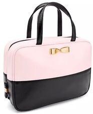 Victoria's Secret VS Large Travel Case Makeup Bag Light Pink Black Bold Gold Bow