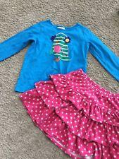 USED EUC HANNA ANDERSSON Girls Bird Appliqué Appy Tee Velour Pink Skirt Set 110