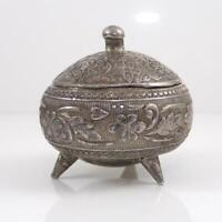 Vintage Antique Chinese Silver Floral Etched Jewelry Pill Box Lidded Jar LFD6