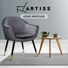 【20%OFF$111】 Armchair Accent Chair Retro Armchairs Single Sofa Velvet Seat Grey