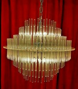 Vintage MidCentury Modern Lightolier Gaetano Sciolari Glass Rod Tier Chandelier