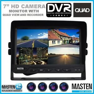 "Masten Backup Rear View HD Video Monitor 7"" 4 Inputs DVR For Car Truck Caravan"