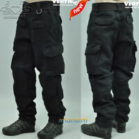 "1/6 Scale Black Clothes Parts Combat Pants Trousers For 12"" Body Action Figure"