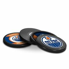 NEW EDMONTON OILERS ACTUAL HOCKEY PUCK COASTERS SET IN CASE