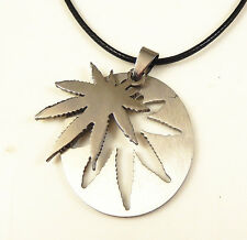 Silver Stainless Steel Marijuana Leaf Canabis Weed Pendant Necklace