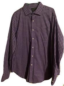 Ralph Lauren Plaid Classic Fit Non Iron Purple White  Shirt 17 1/2