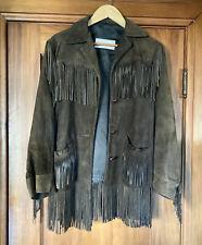 VINTAGE Brown Suede Leather Jacket Ladies Native Fringe Western Wear Coat