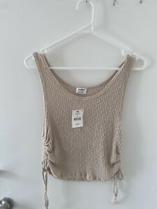 COTTON ON Gigi Ruched Tank In Latte Size XL