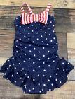 Gymboree Girls Red White Blue Star Stripe Nwt Swimsuit 6-12 M