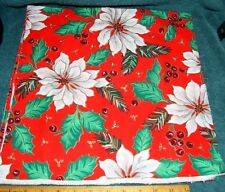 """60"""" x 12"""" Cotton Quilt Fabric Christmas White Poinsettia w/Red & Green"""