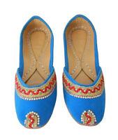 Women Shoes Indian Handmade Designer Sky Blue Loafers Flat Mojari UK 2.5 EU 35