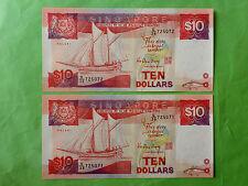 Singapore $10 Ship 1988 2pcs Running Number (PERFECT UNC) E/38 725071 - 2