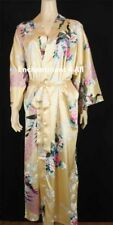 Elegant Handmade Peacock Design Silk Satin Long Kimono Robe w/ Waist Tie, Ivory