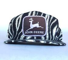 Vtg John Deere Tractors Patch Logo Zebra Baseball Cap Hat SnapBack K Products US
