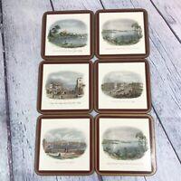 6 Pimpernel SYDNEY SCENES Coasters Acrylic Finish Cork Back Square Vintage
