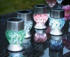NUOVA in acciaio inox 4 x 2 in 1 LED ENERGIA SOLARE POST & tavolo giardino luce notte