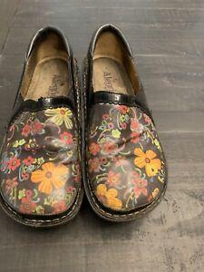 Women's ALEGRIA DEB-610 Aloha floral Black Patent slip on shoes size 37