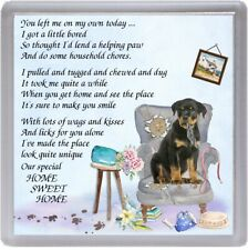 """Rottweiler Dog Coaster """"HOME SWEET HOME Poem ...."""" by Starprint"""