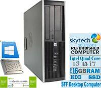 FAST Cheap HP 8200 SFF Core i7 i5 i3 Windows 10 Desktop PC 16GB RAM 2TB HDD SSD