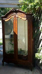 French Louis xv Rococo mirrored armoire hand carved walnut w/inlays