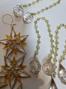 Bulk Lot Of Christmas Ornaments,xmas,Hanging Gold stars beads, jewels, plastic