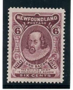 "NEWFOUNDLAND -  SG. 111 :  1911  ""  6 cents  CLARET  -  Perf. 14  "" ."