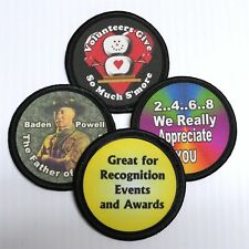 """Custom Printed Fabric Patches 2.5"""" Round Lot of 5 You Choose the Design & Text"""