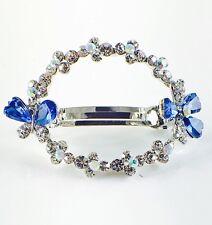 USA BARRETTE Rhinestone Crystal Hair Clip Hairpin Elegant Bow Flower Blue B03