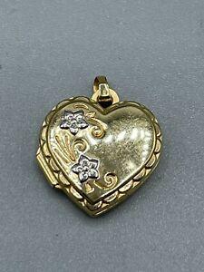 Vintage Hallmarked 9ct Yellow & White Gold Heart Locket Birmingham 1993 1g