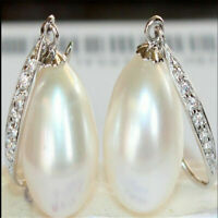 12-13mm south sea white baroque pearl earring silver Wedding Jewelry Gift Chain