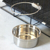 Stainless Steel Pet Hanging Bowl Feeding Cage Cup Dog Bird Parrot Food Water EA7