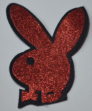 PLAYBOY BUNNY RABBIT RED GLITTER SPARKLE Sew On Cloth Patch Badge APPLIQUE