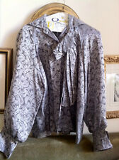 Vntg Yves St. Laurent Style Silk Blouse Metallic Silver Detachable Jabot EUC